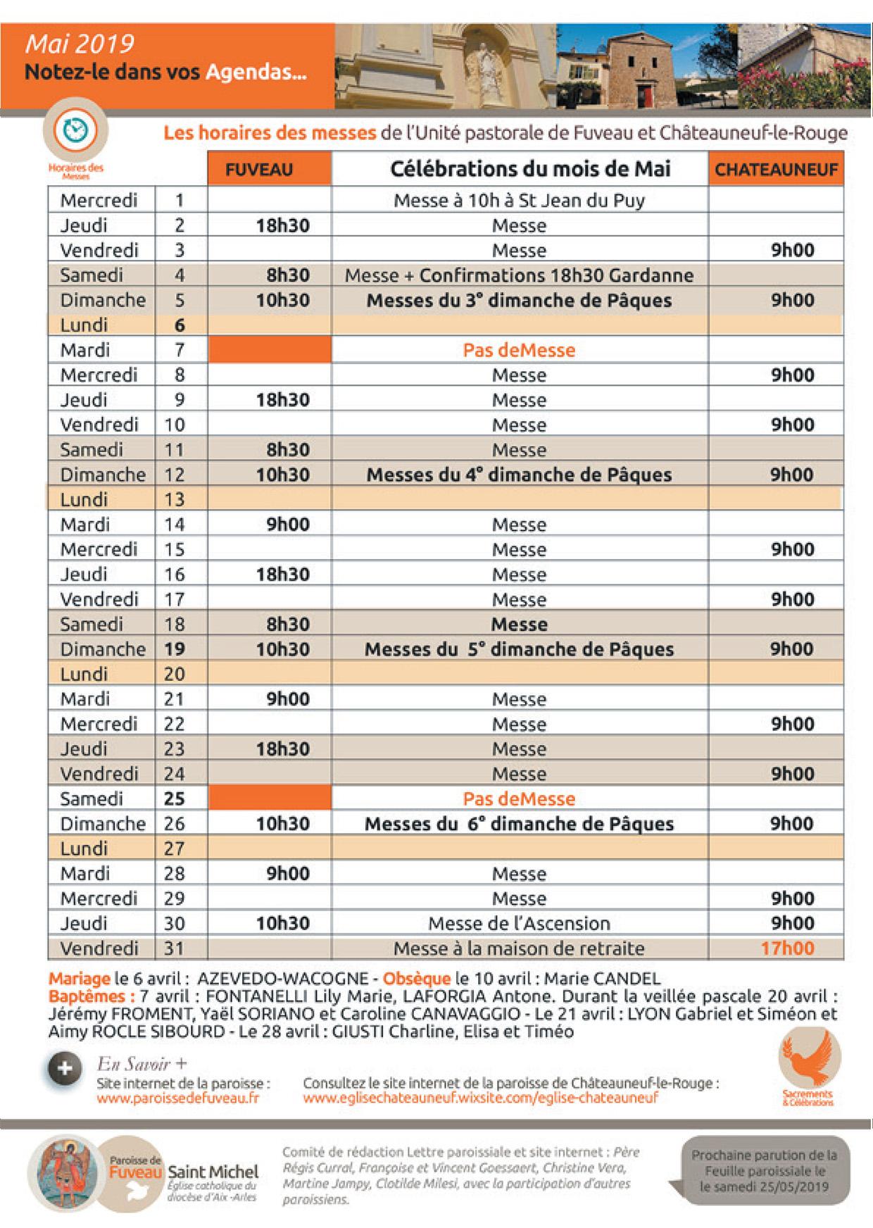 Horaires des messes Paroisses de Fuveau et Châteauneuf-le-Rouge