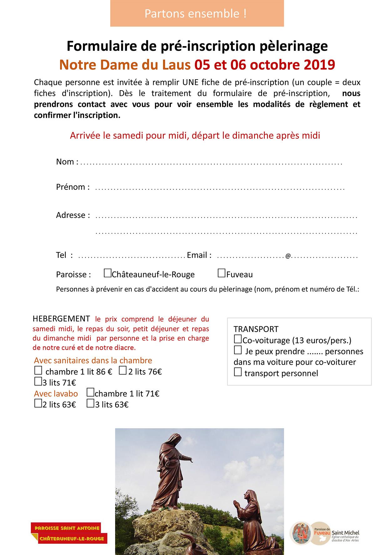 Inscription pèlerinage à ND du Laus pour les Paroisses de Fuveau et Châteauneuf-le-Rouge